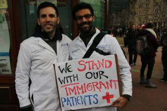 Protesters gathered at Copley Square in Boston on January 22, 2017, in response to President Trump's Executive Order on immigration or travel from seven predominantly Muslim nations.