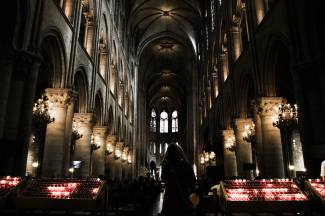 Inside the gothic majesty of the Cathédrale Notre-Dame de Paris.